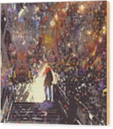 Man Standing On The Top Of Stair In The Wood Print