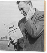 Man Studying A Golf Book Wood Print