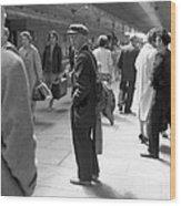 Man Waits In Heuston Station Dublin Wood Print