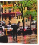 Reflections - New York City In The Rain Wood Print