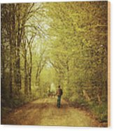 Man Walking  On A Lonely Country Road Wood Print