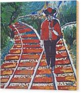 Man Walking On Rails Wood Print