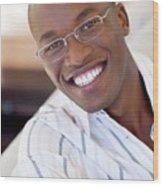 Man Wearing Glasses Wood Print