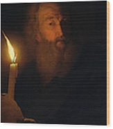 Man With A Candle Wood Print