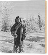 Man With Parka And Snowshoes Wood Print