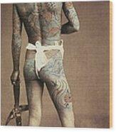 Man With Traditional Japanese Irezumi Tattoo Wood Print by Japanese Photographer