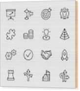 Management - Outline Icon Set Wood Print