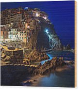 Manarola At Night Wood Print