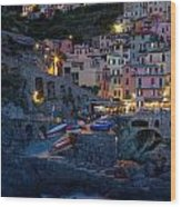Manarola By Night Wood Print