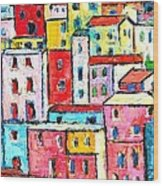 Manarola Colorful Houses Painting Detail Wood Print