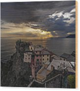Manarola Sunset Storm Wood Print