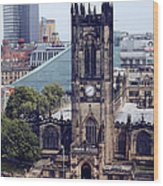 Manchester Cathedral Wood Print by Anthony Bean