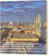 Manchester Skyline Panoramic Hdr Wood Print