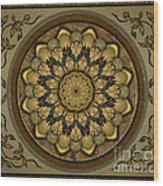 Mandala Earth Shell Sp Wood Print by Bedros Awak