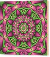 Mandala Green And Pink Wood Print