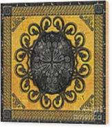 Mandala Obsidian Cross Wood Print