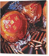 Mandarins in Cello Packets Wood Print