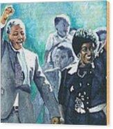 Mandela - Leaving Prison Wood Print