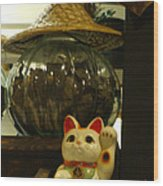 Maneki Neko Japanese Beckoning Money Cat 02 Wood Print