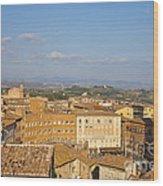 Mangia Tower Piazzo Del Campo  Siena  Wood Print
