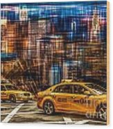 Manhattan - Yellow Cabs I Wood Print by Hannes Cmarits