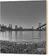 Manhattan And Brooklyn Bridge Fisheye Bw Wood Print