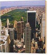Manhattan And Central Park Wood Print