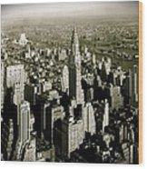 Manhattan And Chrysler Building II Wood Print