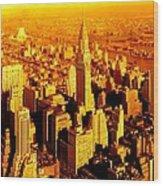 Manhattan And Chrysler Building Wood Print