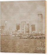 Manhattan And Liberty Island Vintage Wood Print