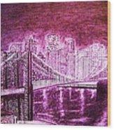 Manhattan At Night Enhanced Wood Print