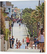 Manhattan Beach Boardwalk Wood Print