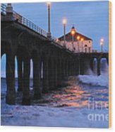 Manhattan Beach Pier Crashing Surf Wood Print