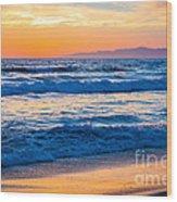 Manhattan Beach Sunset Wood Print