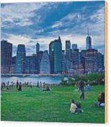 Manhattan Blue And Green Wood Print