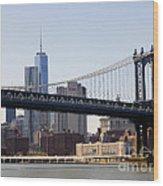 Manhattan Bridge And One Wtc Wood Print