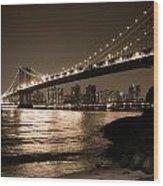 Manhattan Bridge At Night II Wood Print