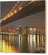 Manhattan Bridge By Night Wood Print