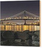 Manhattan Bridge Evening Reflections Wood Print