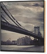 Manhattan Bridge In Ny Wood Print