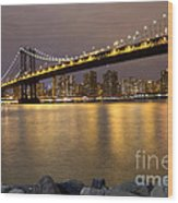 Manhattan Bridge Lights  Wood Print