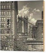 Manhattan Bridge Peeking Through Wood Print