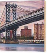 Manhattan Bridge Under A Purple Sunset Wood Print