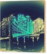 Manhattan In Blue Wood Print