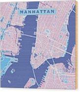 Manhattan Map Graphic Wood Print