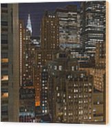 Manhattan Night Wood Print