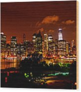 Manhattan Night Skyline Wood Print