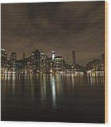 Manhattan Night View Wood Print