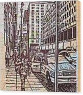 Manhattan On Map Wood Print