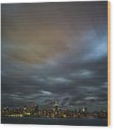 Manhattan On The Horizon Wood Print